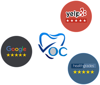 logo of yelp, google and healthgrade showing 5-star rating for dr fay mansouri